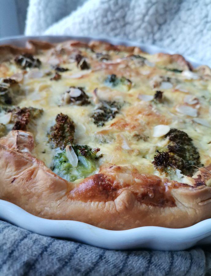Tarte aux brocolis, amandes et bacon