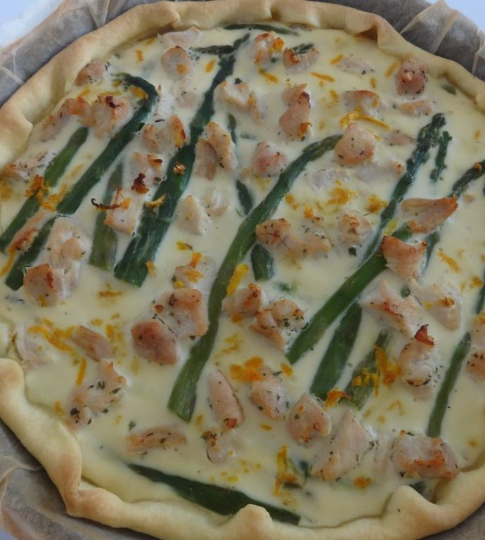Tarte poulet, asperges et orange