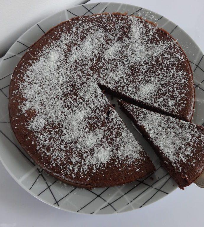 Gâteau fondant au chocolat et crème de coco ( sans gluten, sans lactose, sans sucre et sans matière grasse !! )