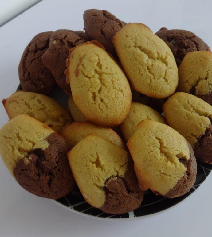 Madeleines au chocolat et vanille ( sans gluten )