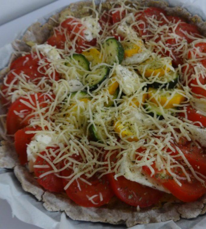 Tarte à la tomate, courgettes et mozza ( pate au sarrasin )