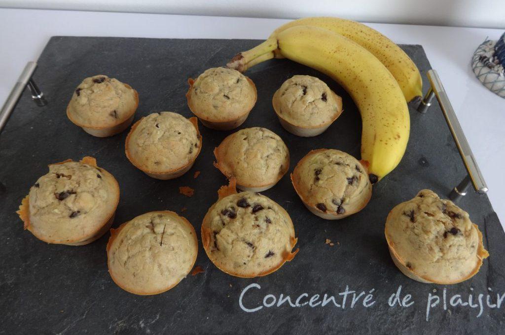 Muffins banane et pépites de chocolat ( sans sucre, sans matière grasse )