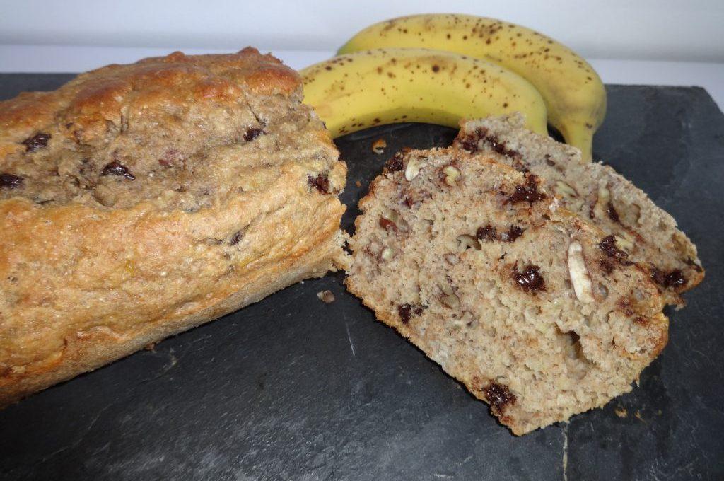 Banana Bread aux noix de pécan et pépites de chocolat ( sans matière grasse )