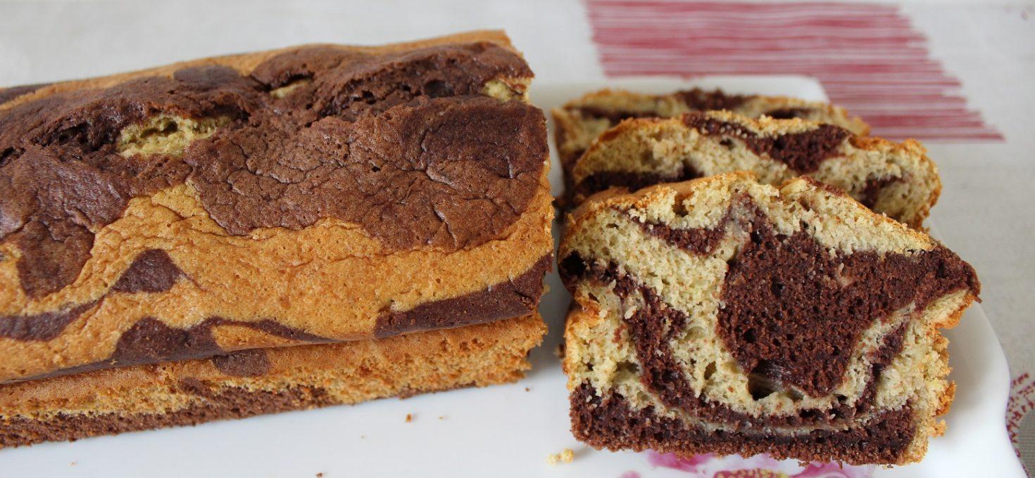Cake marbré vanille-chocolat ( sans beurre )