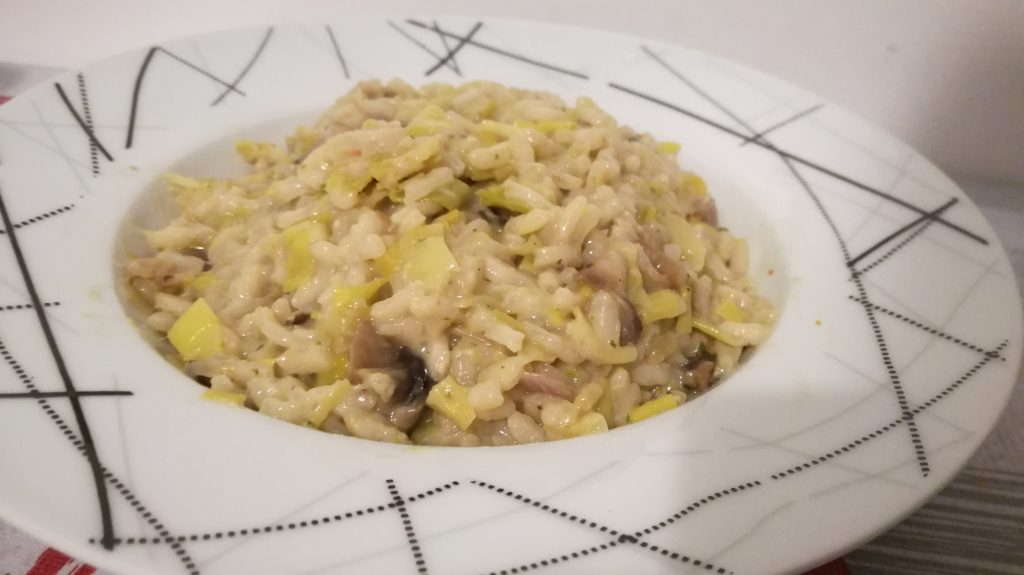 Risotto aux poireaux ( végatarien, sans gluten )